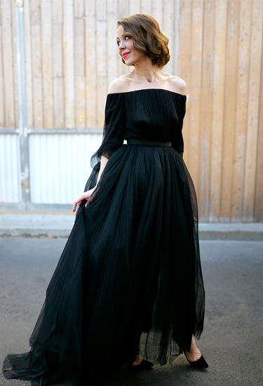 Uliana Sergienko | Dior black dress