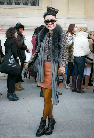 Leather Skirt and Fur Collar · Paris Fashion Week