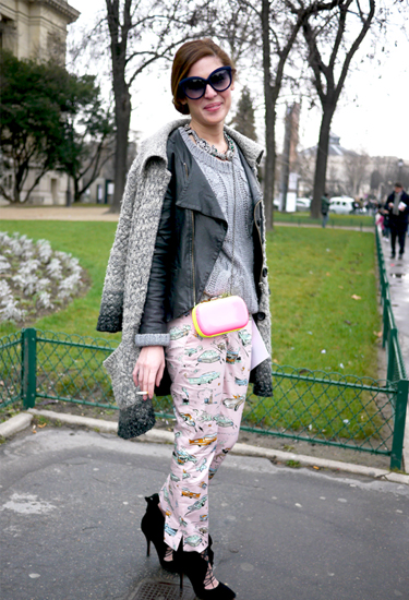 Prada car prints trousers SS2012 | Paris Streetstyle
