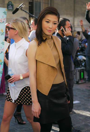 Camel and black   Leather outfit