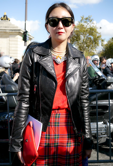 Tartan & Leather | Street Style Paris
