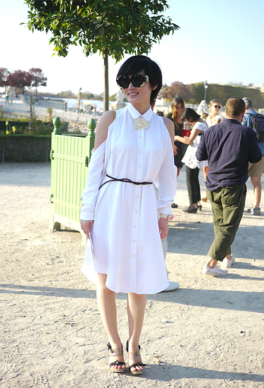 White shirt-dress | Paris Streetstyle