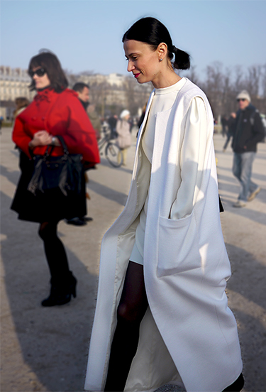 White coat trend | Paris FW StreetStyle