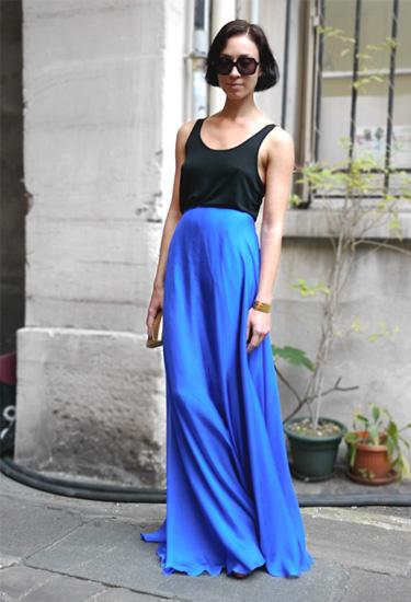 Intense blue maxi skirt
