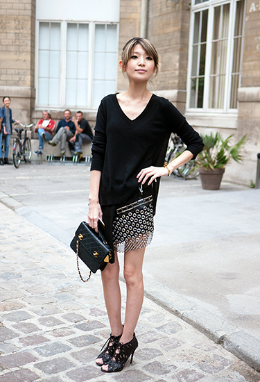 Riveted mini-skirt