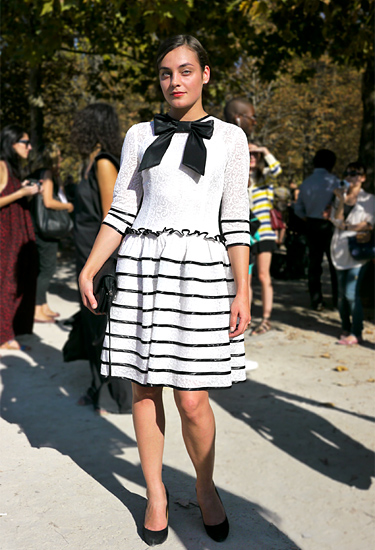 Statement bow on black and white dress