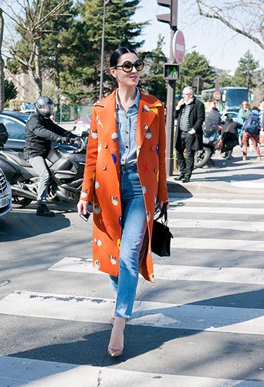 Maria Efrosinina wearing a Poustovit coat