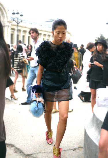 Miu Miu Glitter shoes in Paris | Streetstyle