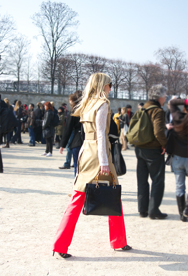 Red flare pants · Paris Streetstyle